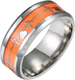 YiyiLai Unisex Couples Punk Heartbeat Glow in The Dark Stainless Steel Luminous Promise Band Rings