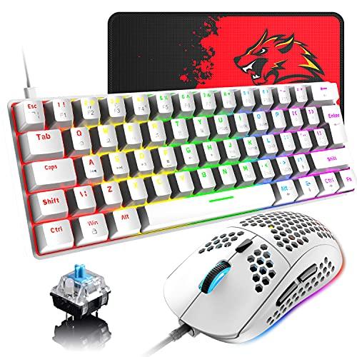 Pack Teclado y Raton mecánico Retroiluminado 60% compacto con 62 teclas con cable USB C teclado para juegos + 6400 DPI Mouse + alfombrilla de ratón, compatible con PS4,PC - interruptor azul/blanco