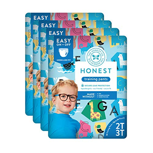 The Honest Company Toddler Training Pants, Animal ABCs, 2T/3T, 104 Count (Packaging May Vary)