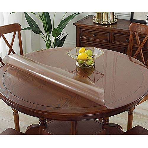 XHNXHN Mantel redondo de PVC de 1,2 mm, transparente, impermeable, para cocina, para restaurar mesa, protector de cristal suave, 120 cm, color rosa