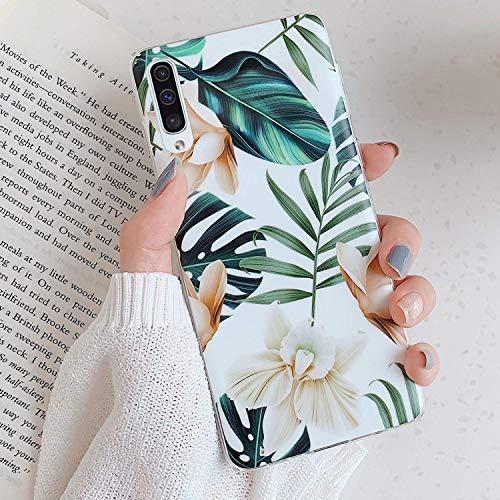 Herbests Kompatibel mit Samsung Galaxy A50 Hülle Handyhülle Weich TPU Silikon Schutzhülle Durchsichtige Hülle mit Motiv Blumen Blätter Ultra Dünn Hülle Silikon Bumper Rückschale Case,Weiß Blumen