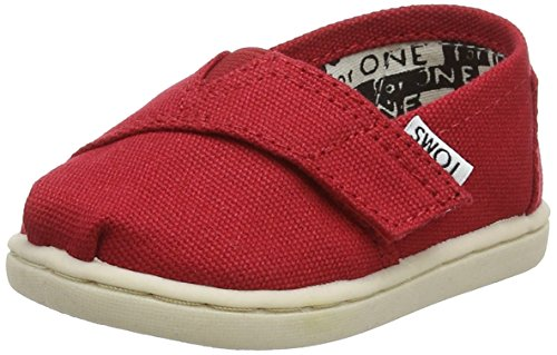 TOMS Red Canvas Classic Tiny Infant ALPRG 013001D13-RED (Size: 9)