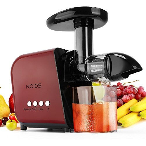 KOIOS Juicer, Slow Masticating Juicer Extractor with Reverse Function, Cold Press Juicer Machine with Quiet Motor, Juice Jug and Brush for High Nutrie (Red-Black)