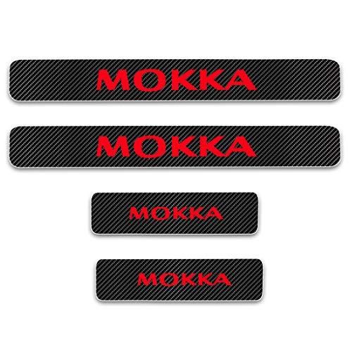 YCGLX 4 Stücke Für Opel Mokka All Models Kohlefaser Leder Auto Schwelle Schutz Einstiegsleisten, Pedal Door Sill Aufkleber Kratzschutz Abdeckung Dekor Zubehör