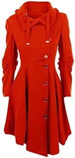 YIBEIANYU European And American Female Irregular Woolen Coat 2 Hooded Woolen Coats