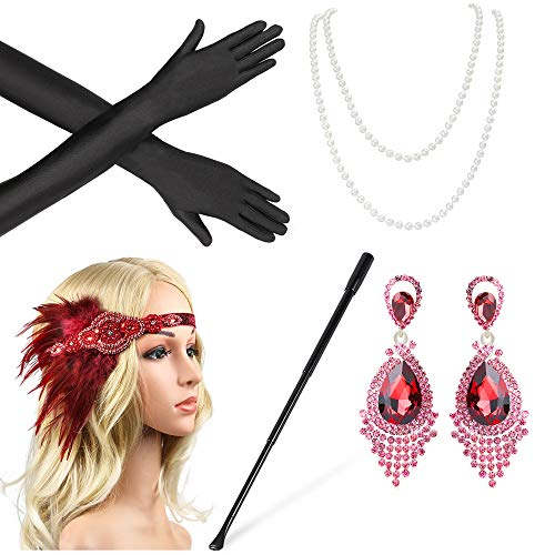 Beelittle 1920s Accessories Set for Women Flapper Headband Pearl Necklace Gloves Porta Sigarette per Great Gatsby Party (M14)