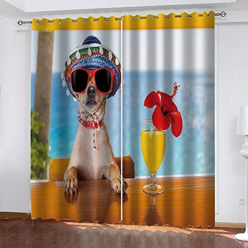 LUOWAN Tende oscuranti casa Cucciolo di Spiaggia Estiva Tende Oscuranti Termiche Isolanti per Interni con Occhielli 2 Pezzi Tenda Termica Isolante Oscurante
