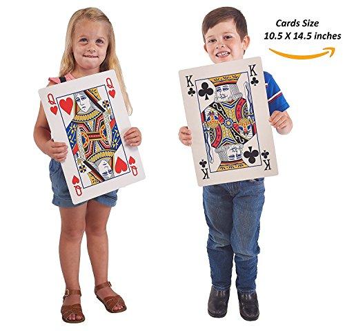 Prextex.com Mazzo di Carte da Gioco Jumbo Mazzo Completo Carte Enormi da Poker Divertimento per Ogni età! -Dimensione 26 cm x 37 cm