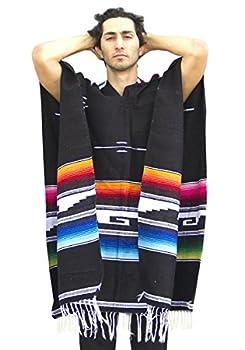 Del Mex Serape Style Mexican Aztec Poncho  Black