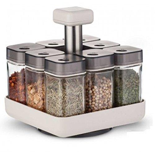 Coninx Roterande kryddhylla – kryddförvaring – kryddorganiserare – roterande kryddhylla – örtställ – inkluderar platsbesparande kryddhylla + 8 lättanvända kryddburkar – 16,5 x 15 x 15 cm