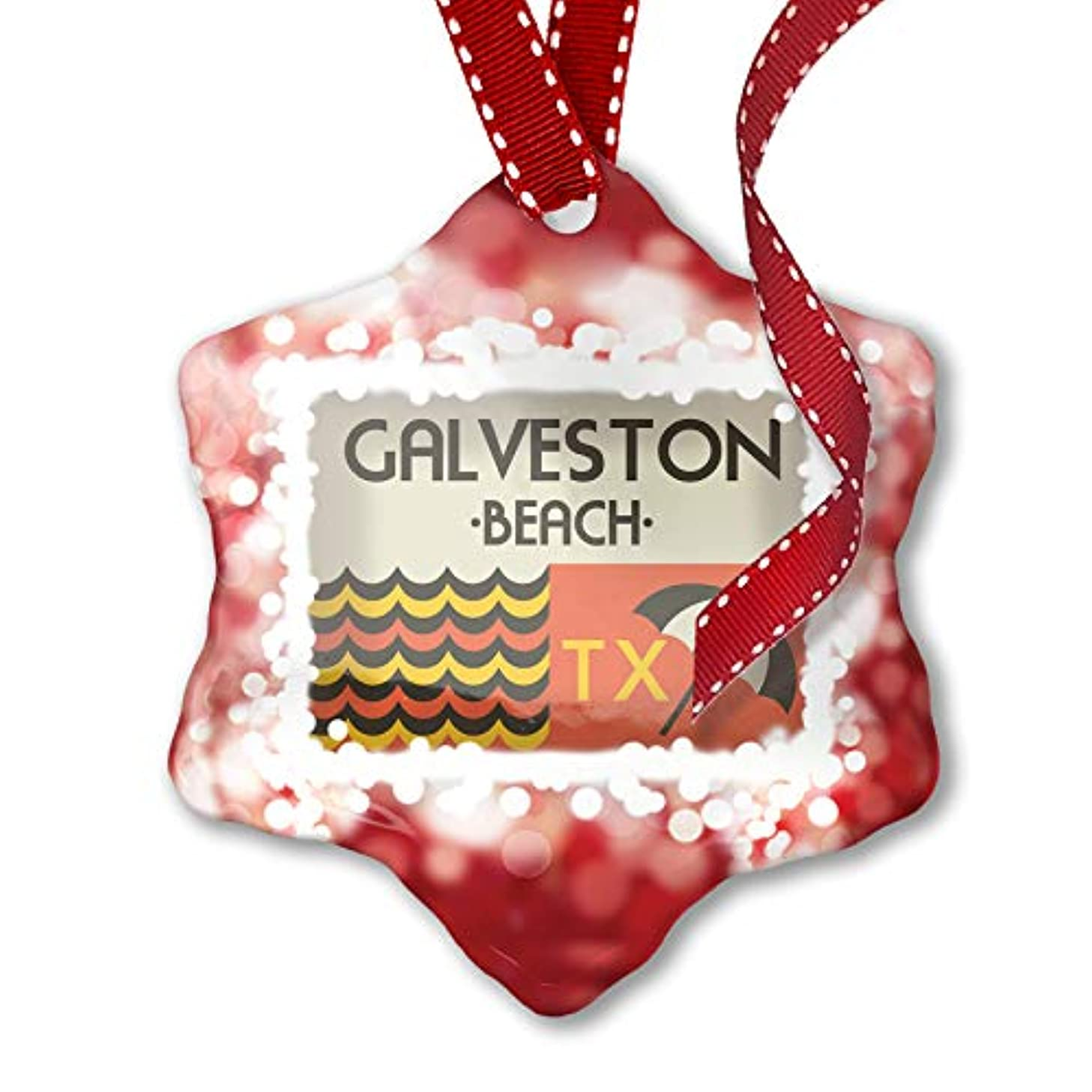 NEONBLOND Christmas Ornament US Beaches Retro Galveston Beach, red
