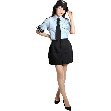 MAKE CHEERFUL ポリス コスプレ 警察官 コスプレ 衣装 レディース 4点セット (M)