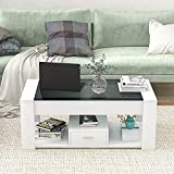 Mesa de centro con parte superior de cristal, mesa auxiliar moderna con estante y 1 cajón, mesa de salón, mesa de café, mesa de sofá, mesa rectangular, mesa de almacenamiento para sala