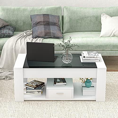Mesa de centro de salón con tablero de cristal, cajones y espacio...