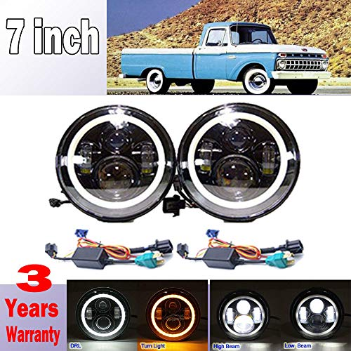 For Ford F100 F150 F250 F350 Pikcup 1969-1979, 7 Inch 7500lms Led Headlights with White DRL and Amber Turn Signal High Low Beam Conversion Kit DOT Approved Plug H4 to H13 Package Pair
