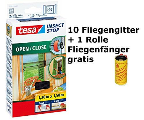 tesa Insect Stop COMFORT Open/Close Fliegengitter Fenster zum Öffnen & Schließen - Insektenschutz Rollo selbstklebend + 1 Fliegenfänger gratis (10 Fliegengitter 130 cm x 150 cm)