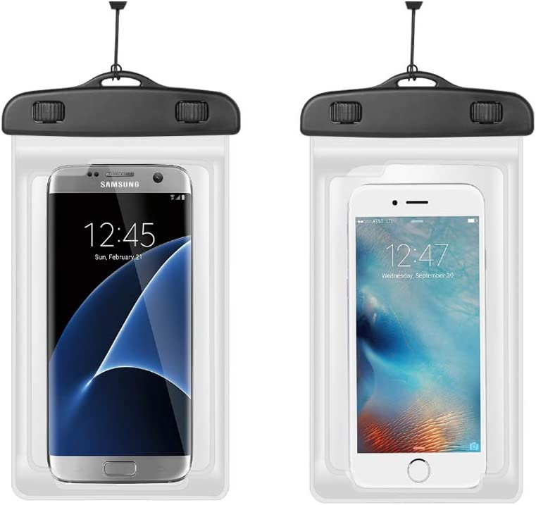 Universal Waterproof Phone Pouch Case Cellphone Dry Bag with Arm Band Neck Strap for iPhone Xs Max X 8 Plus/Samsung Galaxy S10 S9+ S10e / Moto G7 Power/Google Pixel 3 /LG K30,2 Pack (Transparent)