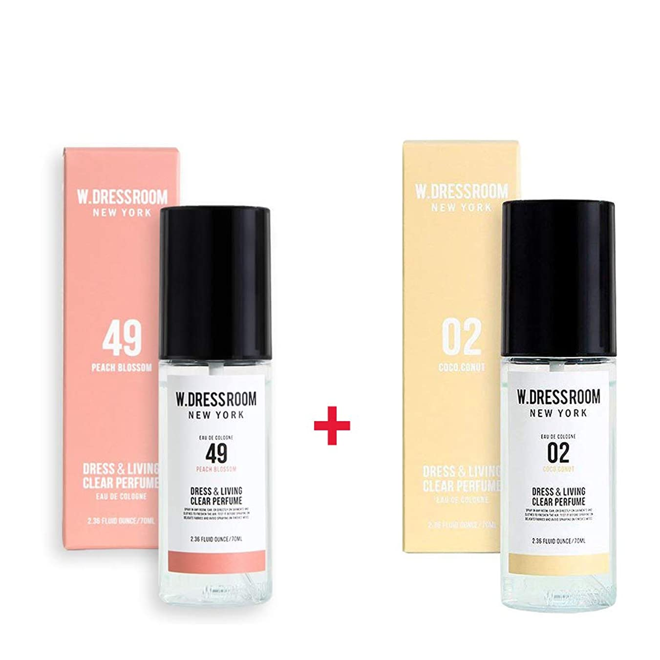 はがき王女学士W.DRESSROOM Dress & Living Clear Perfume 70ml (No 49 Peach Blossom)+(No .02 Coco Conut)