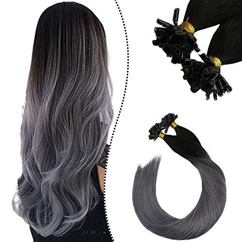 "Ugeat Hair Extensions Keratin Tip Bonding Set mit Haare 14"" U Tips Remy 100% Brasilianische Echthaaar Naturlich Schwarz Ombre Silber 50 Stuck 50 Gramm"