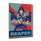Reaper Mercy Game Painting Overwatches Posters And Prints Video Decorative Wall Art Pictures For Living Room Home Decoration (No Framed,16x24inch)