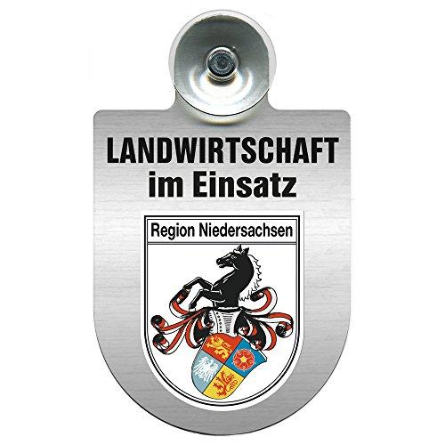 Einsatzschild für Windschutzscheibe incl. Saugnapf - Landwirtschaft im Einsatz - Wappen nach Wahl - 309460 Farbe Region Niedersachsen