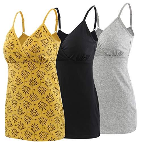 ZUMIY Schwangerschaft Stillen Top, Damen Baumwolle Umstandskleidung Schlaf Ärmellos Cami mit Verstellbaren Trägern