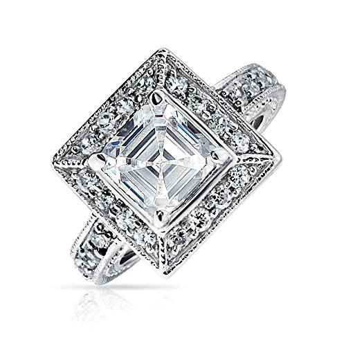 Bling Jewelry 2Ct Art Deco Stil Zirkonia Milgrain Asscher Cut Quadrat Halo AAA CZ Verlobungsring Sterling Silber Abschlussballise Ring