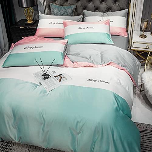 Funda Nordica Cama 150/135 Microfibra,60 Ropa de cama de seda, bordado de algodón Minimalista AB Tianyila Conjunto de cuatro piezas, Color Matching Supplied Supplies Contraven-F_1,8 m de cama (4pcs)
