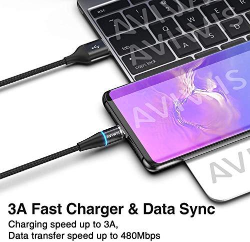 AVIWIS Magnetisches USB C Kabel [2Stück 1M] Nylon Magnetic USB Typ C Schnellladekabel und Datenkabel für Samsung Galaxy S10/ S9/ S8, Huawei P20/ Mate20, OnePlus, Google