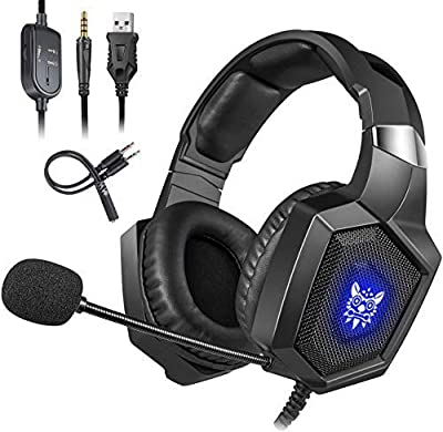 for Xbox One Headsets, Cocoda Stereo Noise Canceling Gaming Headphones with Mic,RGB LED Light,Soft Memory Earmuffs, Gaming Headset for PS4 / Nintendo Switch / Laptop / PC / Computer / iPad
