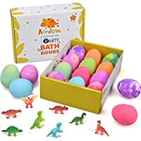 Airdom Set of 12 Dinosaur Egg Bath Bombs for Kids with Toys Inside