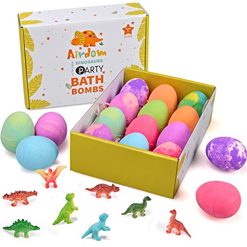 Airdom Dinosaur Bath Bombs for Kids  Set of 12 Egg Bubble Fizzies  Surprise Dino Toy Inside  Gentle and Kids Safe Spa Bath Fizz Balls Kit  Ideal Birthday Christmas or Easter Gifts for Boys amp Girls