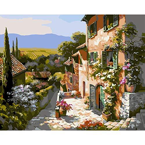 Ecmqs - Juego de manualidad, pintura por números para adultos y niños, paisaje rústico, 40 x 50 cm, lienzo de lino, pintura al óleo, regalo de Navidad (sin marco)