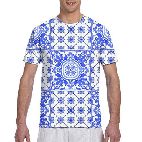 Azulejo Fliesen Blau Weiß Active Athletic Performance T-Shirt