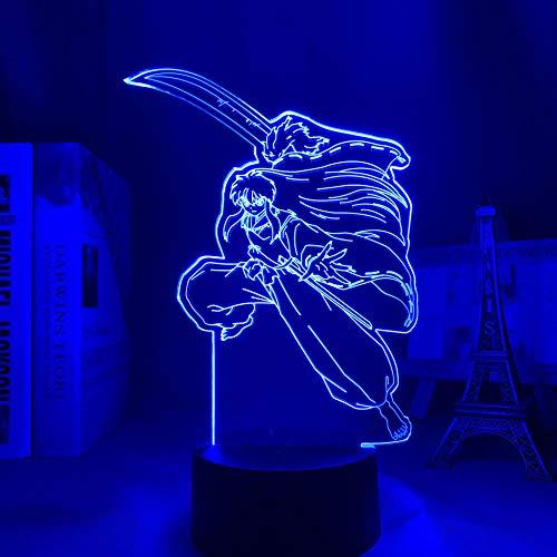 Lámpara de ilusión LED 3D para niños Sesshomaru Anime 3D lámpara Inuyasha luz para niños dormitorio decoración LED luz nocturna regalo manga Gadget lámpara de mesa para niños 7 Color Touch
