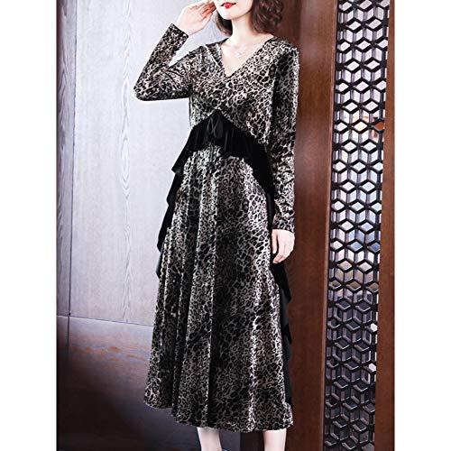 BINGQZ Cocktail Jurken Gouden jurk vrouwelijke winter luipaard V-hals over de knie lange rok in de herfst en winter neem de onderste rok