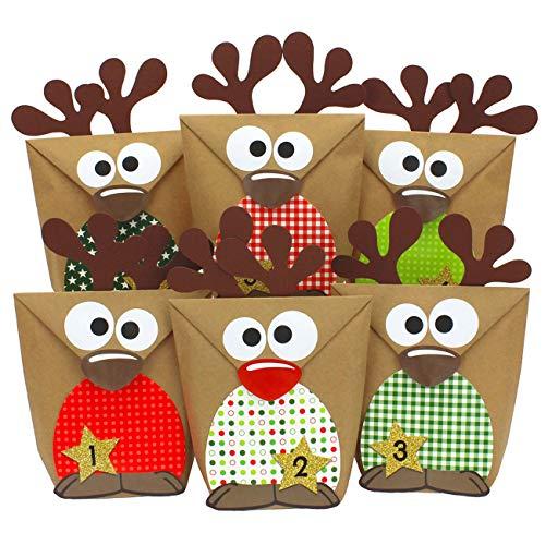 Papierdrachen Rentier Adventskalender zum Befüllen mit roten Bäuchen - DIY zum selber Basteln - 24 Tüten zum individuellen Gestalten und zum selber Füllen - Weihnachten 2019 für Kinder