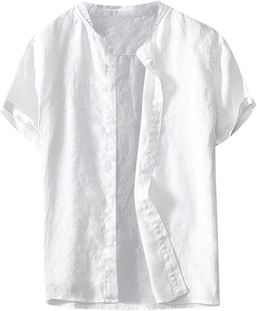 Stoota Summer Men's Cool-Thin-Breathable Solid Button Cotton Shirt Short Sleeve