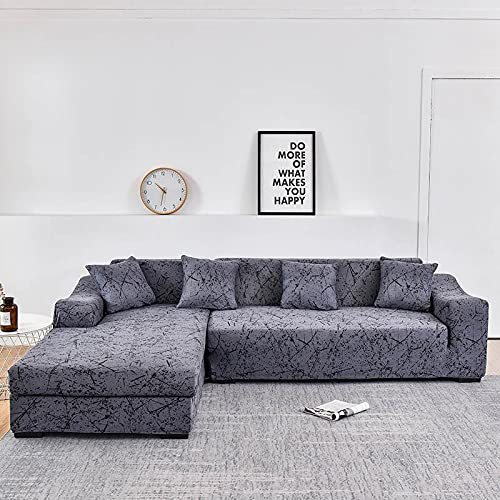 WXQY Funda de sofá de Esquina para Sala de Estar, Funda de sofá Chaise de sofá elástica en Forma de L Compra 2 Piezas, Funda de sofá Todo Incluido A3 de 3 plazas