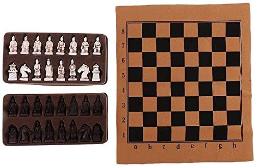 Fulinmen Weinlese-Harz Schach Folding Schachbrett chinesischen Terrakotta-Krieger Schachfiguren Set - Chinese Checkers Bretttischspiele for Kinder Erwachsene Familie - Multi, M (Size : S)