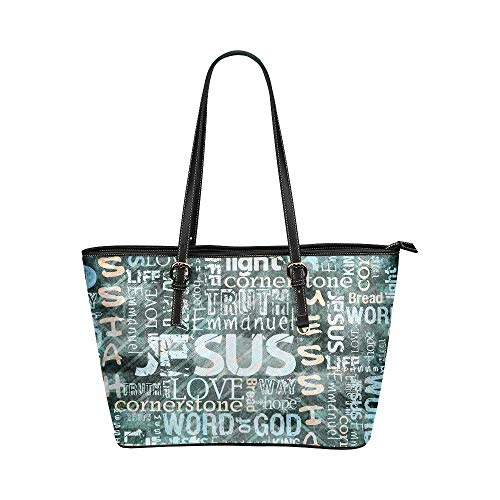 InterestPrint Religious Christian Jesus Quotes Women's Leather Tote Large Shoulder Bag with Zipper