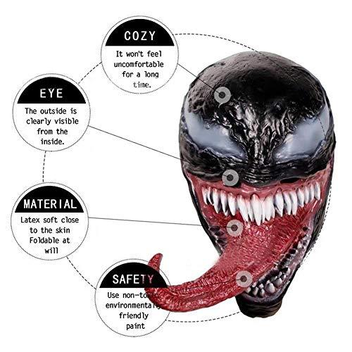 OoB Venom Masque avec la Langue Visage de Fusion,Venom Costumes pour Les Enfants Cosplay Costume Accessoires Halloween Prop Film Superhéros Longue Langue