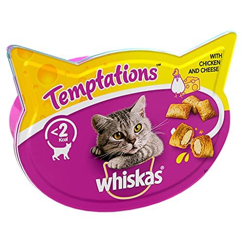 Whiskas Temptations Cat Treats avec Poulet et Fromage, 8 x 60 g