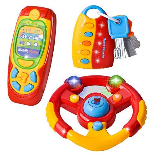 Joyin, giocattolo per volante per bambini, 3 pezzi, per auto e per far finta di giocare il cellulare con musica per bambini, ragazzi e ragazze