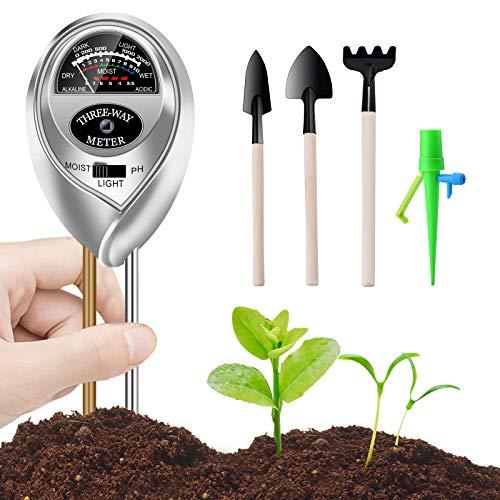 WANFEI Medidor de Suelos, 3 En 1 Monitor Plantas Inteligente Probador de Suelos Monitorea Los Nivele de Humedad/Luz/PH, Higrómetro de Monitor de Agua de Suelo para Planta/Jardín/Granjas