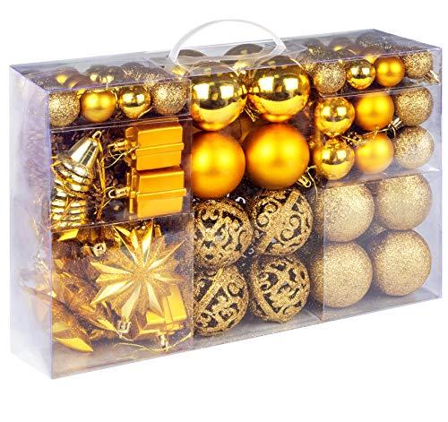 Homewit Palle di Natale Oro, 108 Pezzi Decorazioni Albero di Natale 2CM/ 4CM/ 6CM Plastica Palla di Natale Ornamenti per L'Albero Impostare Ornamento per Natale Palle e Decorazione Natalizia