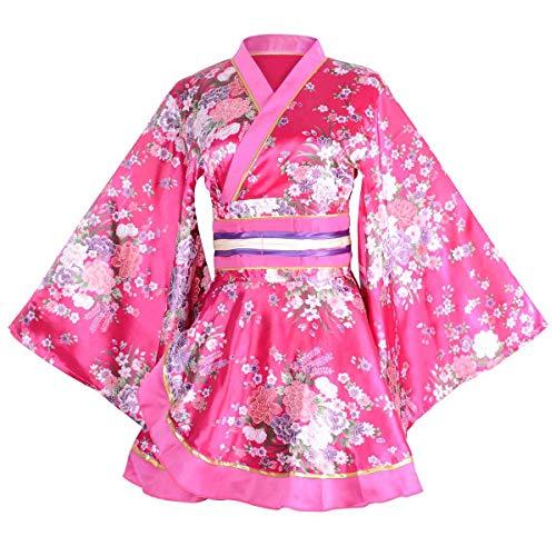 セクシー 着物ドレス 花魁 コスプレ衣装 ショート丈 花柄 和服 コスチューム 浴衣 ナイトドレス (ローズレッド)