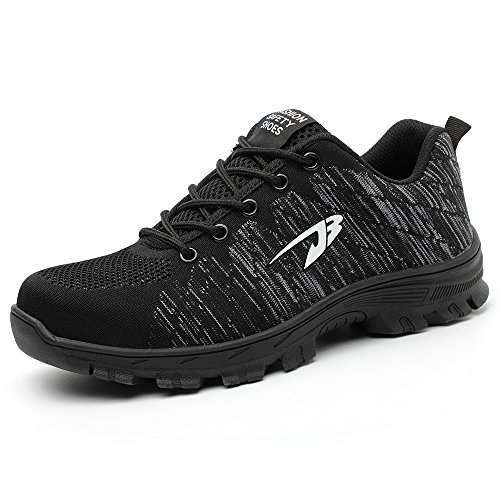 TICCOON Work Safety Shoes Puncture Proofed Footwear Steel Toe Shoes Men,Safety Shoes for Men and Women Black