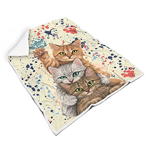 wbinshey Bed Blanket Aquarell Katze Super Soft Reversible for Children White 150x200cm