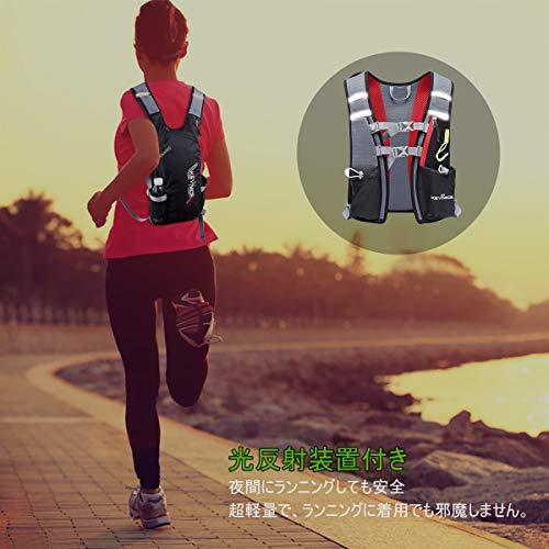 KEYNICEランニングバッグ超軽量マラソンリュックデイパック防水光反射5Lハイドレーション収納可通気アウトドア登山レース遠足リュックサック8L(ブラック)